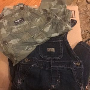 Two overalls- camo and jean 6 months